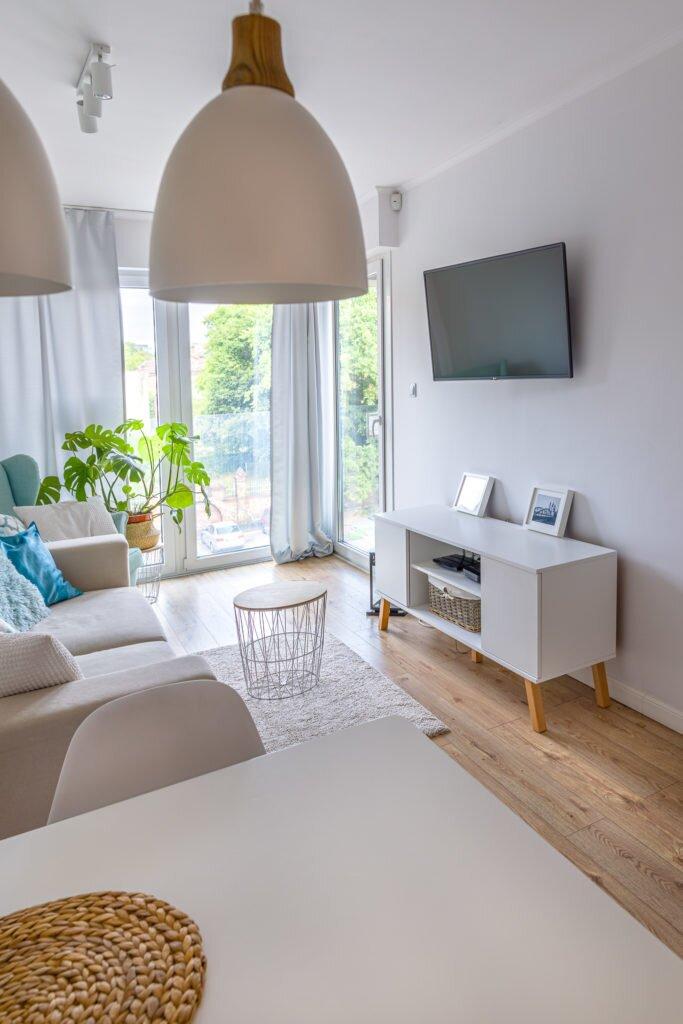 Fotografia wnętrz Apartament Poznań Pokój z aneksem kuchennym
